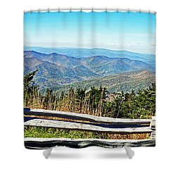 View From Mt. Mitchell Summit Shower Curtain by Lydia Holly
