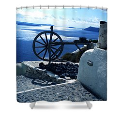 Shower Curtain featuring the photograph View From Santorini Island Greece by Colette V Hera  Guggenheim
