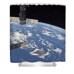 View From Space Showing Part Shower Curtain by Stocktrek Images