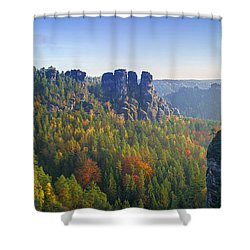View From The Bastei Bridge In The Saxon Switzerland Shower Curtain