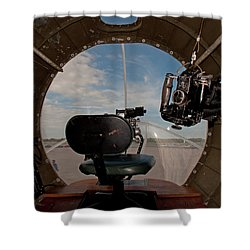 View From The Nose Of Memphis Belle Shower Curtain by John Black