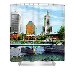 View From Waterplace Park Providence Ri Shower Curtain by Susan Savad