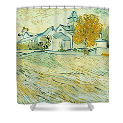 View Of Asylum And Saint-remy Chapel Shower Curtain by Vincent van Gogh