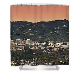 View Of Buildings In City, Beverly Shower Curtain