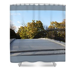 View Of Fall Trees From Footbridge - M Landscapes Fall Collection No. Lf21 Shower Curtain