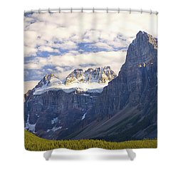 View Of Glacial Mountains And Trees In Shower Curtain by Laura Ciapponi