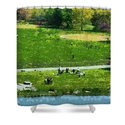 View Of Great Lawn In Central Park Shower Curtain by George Atsametakis