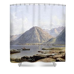 View Of Lake Geneva With The Town Of Villeneuve Shower Curtain by Francis Danby