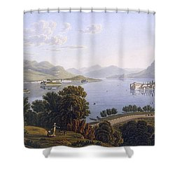 View Of Lake Maggiore And The Borromean Shower Curtain by Swiss School