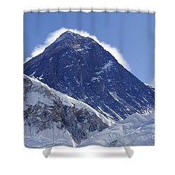 View Of Mount Everest From The Summit Of Kala Pathar In The Everest Region Of Nepal Shower Curtain by Robert Preston