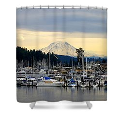 View Of Mt. Rainier From Gig Harbor Wa Shower Curtain
