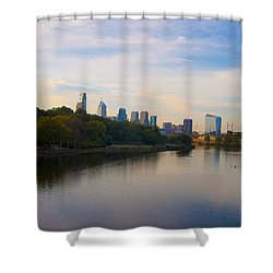 View Of Philadelphia From The Girard Avenue Bridge Shower Curtain by Bill Cannon
