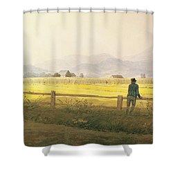 View Of Schmiedebergerkamm Shower Curtain by Caspar David Friedrich
