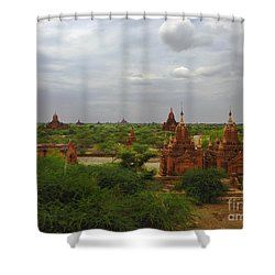 Shower Curtain featuring the photograph View Of Smaller Temples Next To Dhammayazika Pagoda Built In 1196 By King Narapatisithu Bagan Burma by Ralph A  Ledergerber-Photography
