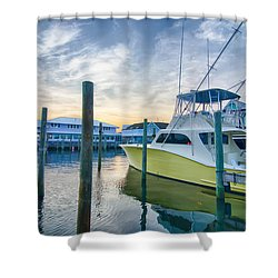 View Of Sportfishing Boats At Marina Shower Curtain