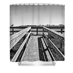 View Of The Elkhorn Slough From A Platform.  Shower Curtain by Jamie Pham