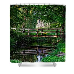 View Of The Grist Mill At Waterloo Village Shower Curtain by Eleanor Abramson