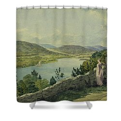View Of The Hudson Circa 1817 Shower Curtain by Aged Pixel