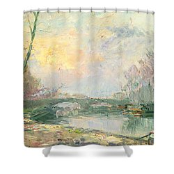 View Of The Seine Paris Shower Curtain by Albert Charles Lebourg