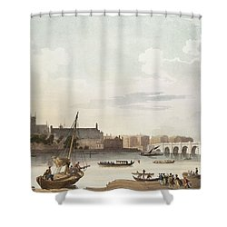 View Of Westminster And The Bridge Wc On Paper Shower Curtain by English School