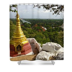 Shower Curtain featuring the photograph View Over Ancient City Of Mandalay Aungmyaythazan From Mandalay Hill Mandalay Burma by Ralph A  Ledergerber-Photography