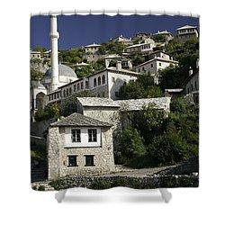 views of pocitelj in Bosnia Hercegovina with minaret bridge and river Shower Curtain