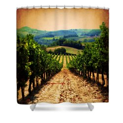 Shower Curtain featuring the photograph Vigneto Toscana by Micki Findlay