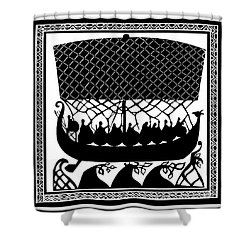 Viking Ancient Mariners Shower Curtain by Vagabond Folk Art - Virginia Vivier