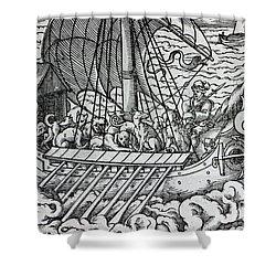 Viking Ship Shower Curtain by German School