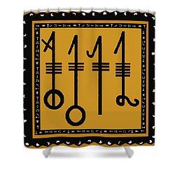 Shower Curtain featuring the digital art Viking Sleepthorn Spell by Vagabond Folk Art - Virginia Vivier