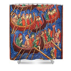 Vikings Invade England 9th Century Shower Curtain by Photo Researchers
