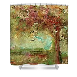 Shower Curtain featuring the painting Villa by Mary Wolf