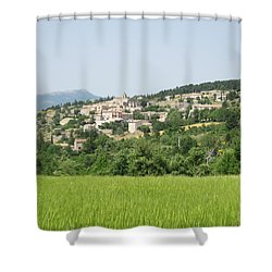 Village Beyond The Wheat Field Shower Curtain by Pema Hou