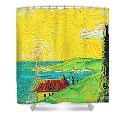 Village By The Sea Shower Curtain by Stefan Duncan