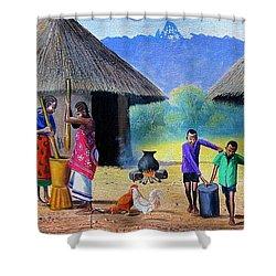 Village Chores Shower Curtain