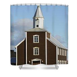 Village Church Of Eyrarbakki Shower Curtain by Michael Thornton