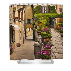 Village Flowers Shower Curtain by Sharon Foster