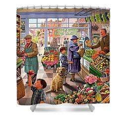 Village Greengrocer  Shower Curtain by Steve Crisp