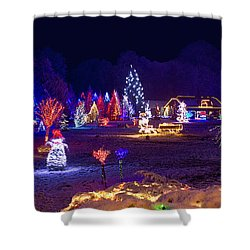 Village In Christmas Lights Panoramic View Shower Curtain