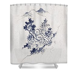 Village In The Mountains Shower Curtain by Aged Pixel