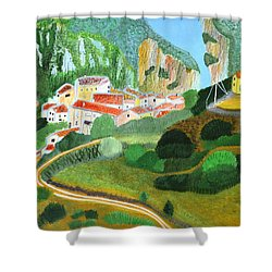 Shower Curtain featuring the painting Village In The Mountains  by Magdalena Frohnsdorff