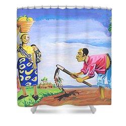 Village Life In Cameroon 01 Shower Curtain by Emmanuel Baliyanga