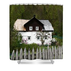 Vine Covered Cottage With Rustic Wooden Picket Fence Shower Curtain