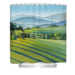 Vineyard Blue Ridge On Buck Mountain Road Virginia Shower Curtain by Catherine Twomey