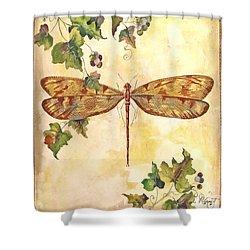 Vineyard Dragonfly Shower Curtain by Jean Plout