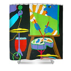 Vinny And The Van Goes Three Shower Curtain by Pamela Allegretto