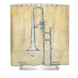 Vintage 1902 Slide Trombone Patent Artwork Shower Curtain