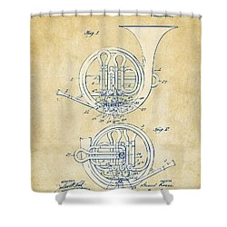 Vintage 1914 French Horn Patent Artwork Shower Curtain by Nikki Marie Smith
