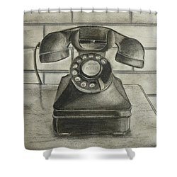 Shower Curtain featuring the drawing Vintage 1940's Telephone by Kelly Mills