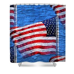 Vintage Amercian Flag Abstract Shower Curtain by Judy Palkimas